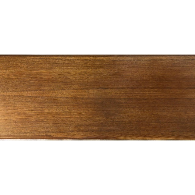 Wicker Danish MCM Long Coffee Table With Woven Wicker Shelf by Trioh Mobler For Sale - Image 7 of 9