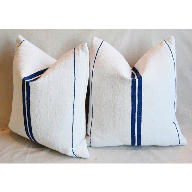 """French Blue Striped Grain-Sack Feather/Down Pillows 20"""" Square- Pair For Sale - Image 9 of 11"""