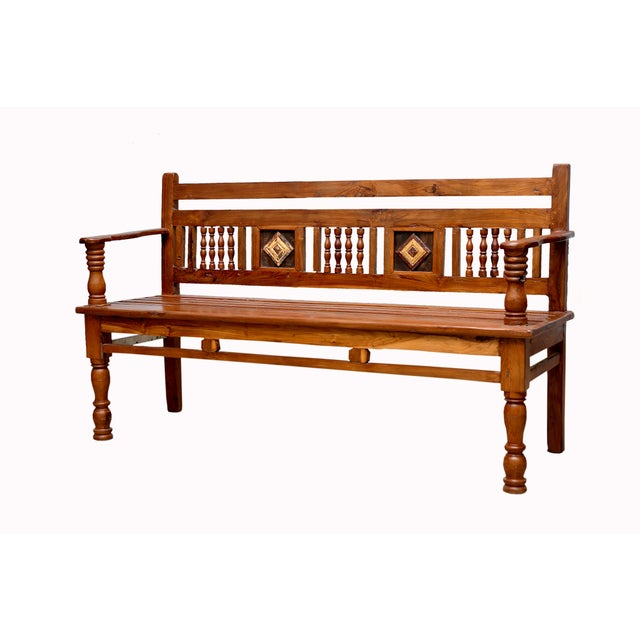 British Colonial Carved Teak Bench - Image 4 of 4