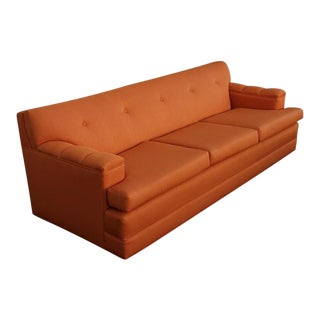 Vintage Mid-Century Modern Tangerine Orange Restored Sofa For Sale