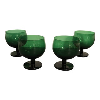 1970s Handblown Green Modern Italian Wine Glasses - Set of 4 For Sale