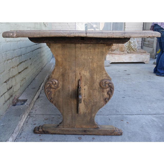 19th C. Carved Italian Trestle Dining Table - Image 4 of 11