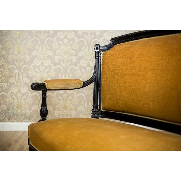 We present you this sofa with wooden, painted black frame with upholstered seat, backrest, and armrests. This piece of...