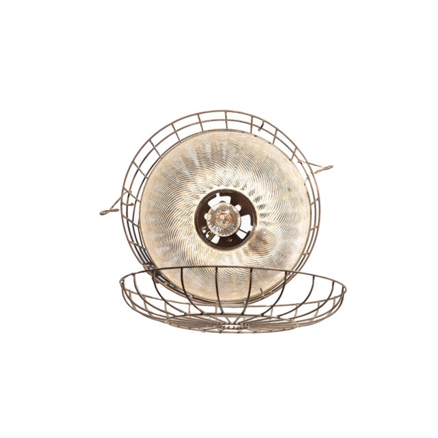 1920s 1920s Industrial Gold Mercury Glass Caged Ceiling Pendant Lamp For Sale - Image 5 of 8