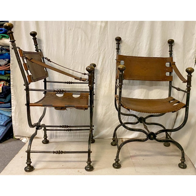 Campaign Pair of Italian Leather and Iron Campaign Style Chairs For Sale - Image 3 of 5