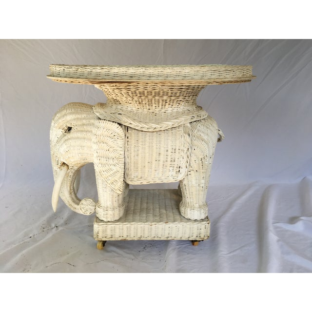 Vintage White Wicker Elephant Side Table With Mirrored Tray For Sale In Philadelphia - Image 6 of 12