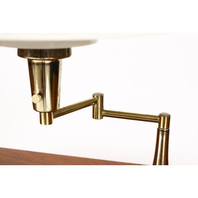 1960s Mid Century Vintage Brass Swing Arm Table Desk Lamp For Sale - Image 5 of 6