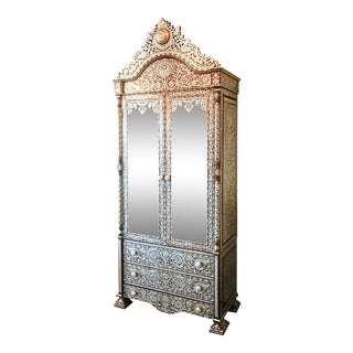 Mother of Pearl Inlay Vintage Syrian Armoire For Sale