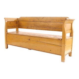 Country Rustic Yellow Wooden Bench For Sale