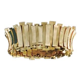 """Brushed Brass Circular Chandelier """"Etta Round"""" For Sale"""