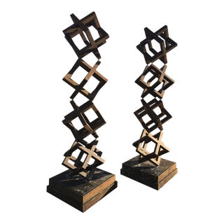 Large Contemporary Steel Cube Sculptures / Statues - a Pair For Sale