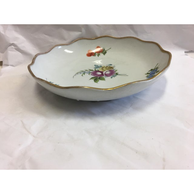 Gold Rim Porcelain Floral Dish For Sale - Image 5 of 7