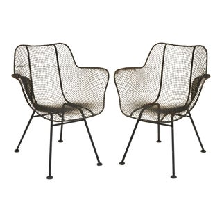 1940s Vintage Russell Woodard Sculptura Metal Mesh Wrought Iron Dining Arm Chairs- A Pair For Sale