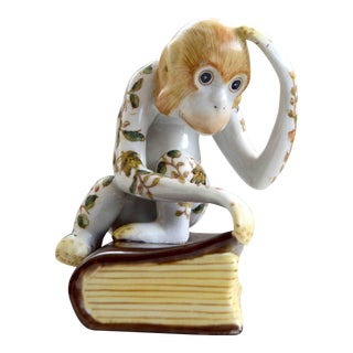 Antique Japanese Hand Painted Ceramic Monkey Figurine on a Book For Sale