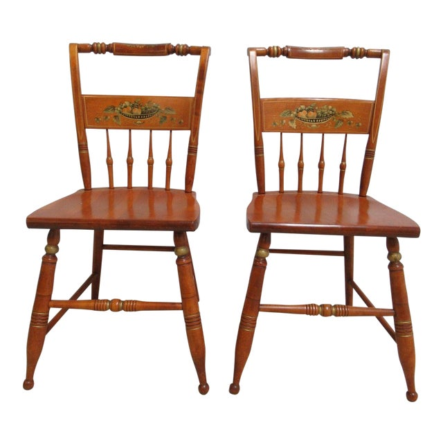 Bent Brothers Plank Bottom Hitchcock Style Dining Chairs - A Pair For Sale