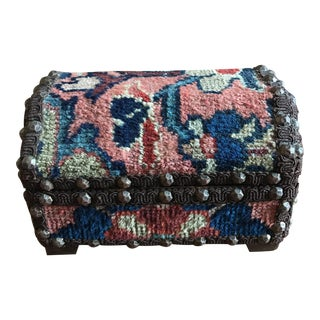 Vintage Handmade Persian Textile Covered Box For Sale
