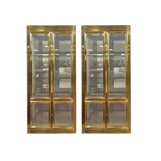 Pair of Elegant Mastercraft Brass Vitrine Display Cabinets For Sale