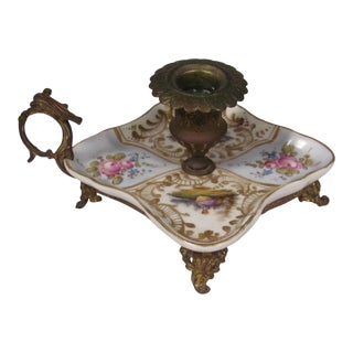 Late 19th Century Porcelain and Hand Painted Brass Candle Holder For Sale