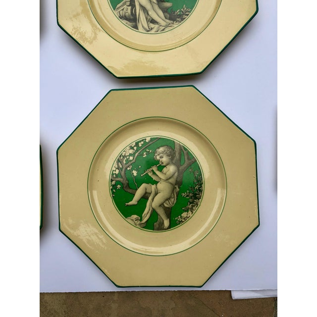 Green French Sarreguemines Majolica Cupid Plates - Set of 8 For Sale - Image 8 of 13