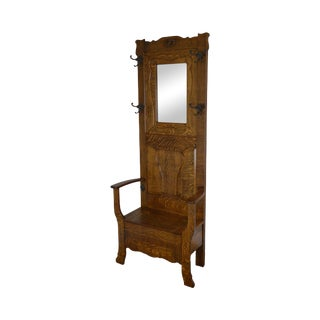 Antique Victorian Oak Hall Tree W/ Mirror For Sale