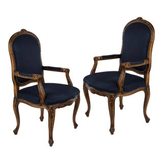 Louis XV Blue Fauteuil Armchairs - A Pair For Sale