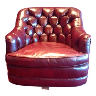 Mid-Century Tufted Maroon Leather Armchair