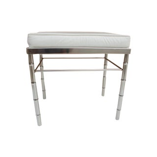 Hollywood Regency Faux Bamboo Chrome Vanity Stool For Sale