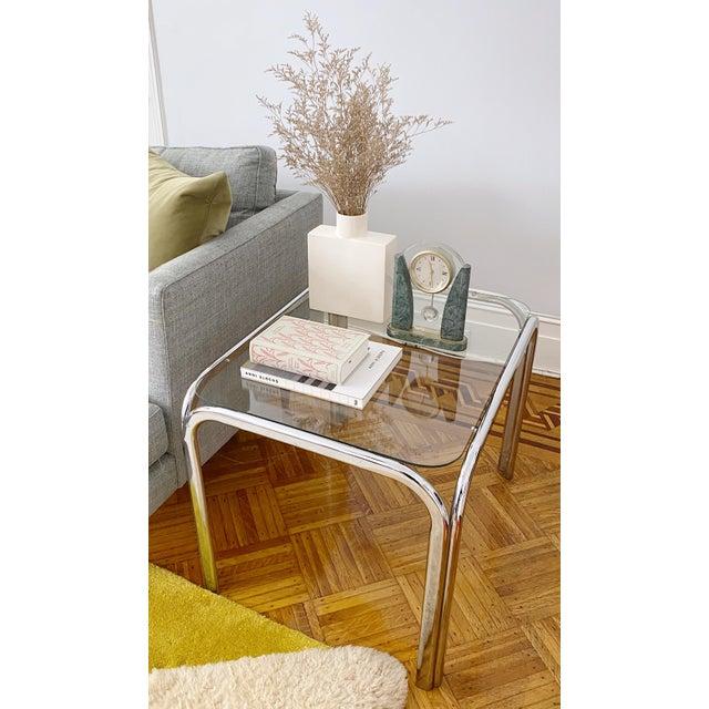 1970s Vintage 1970s Modern Milo Baughman Style Tubular Chrome Side Table For Sale - Image 5 of 9