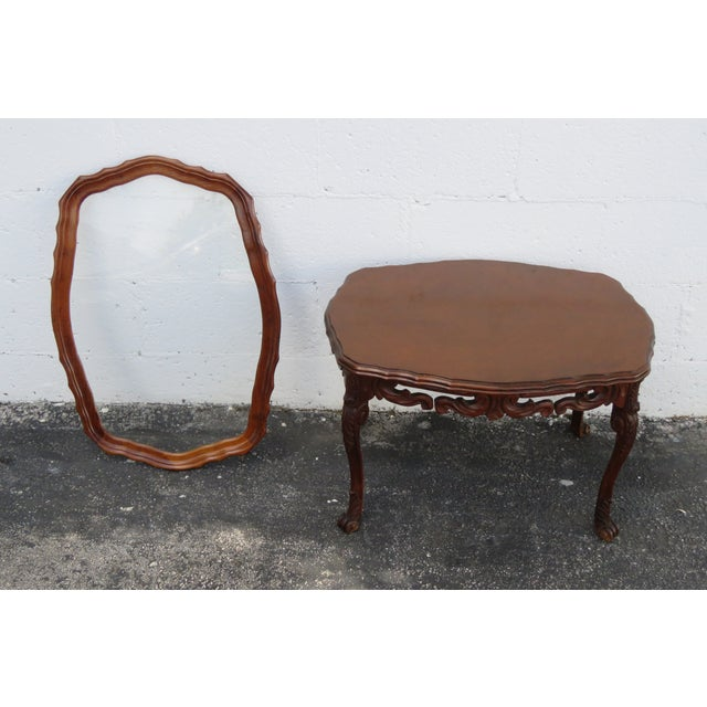 French Early 1900s Hand Carved Coffee Table With Serving Glass Tray 2357 For Sale - Image 10 of 11