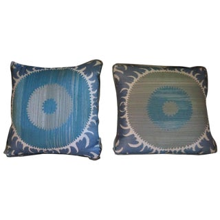 Vintage Custom Donghia Suzani Pillows- A Pair For Sale