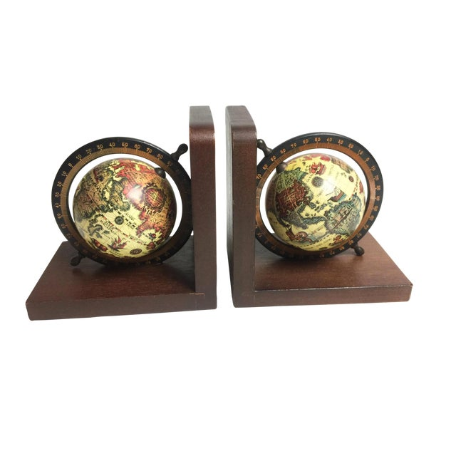 Mid-Century Wooden Old World Globe Bookends - A Pair For Sale