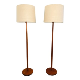 Pair of Solid Teak Floor Lamps, Sweden. For Sale