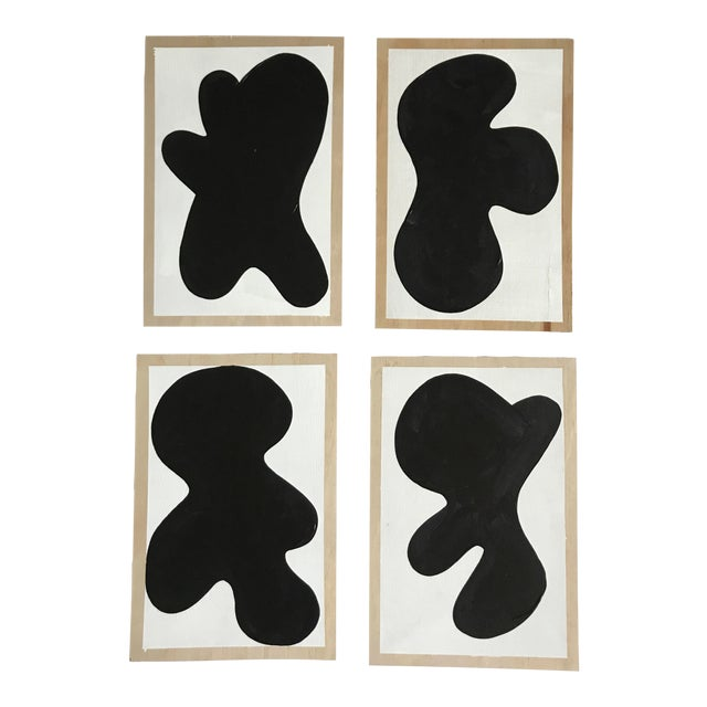 Abstract Monochrome Critters Wall Paintings - Set of 4 For Sale