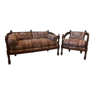 Custom Settee & Chair - A Pair For Sale