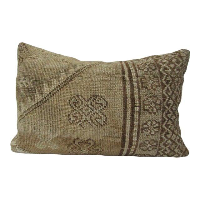 Vintage Turkish Tan & Brown Handmade Pillow - 24ʺW × 16ʺH For Sale