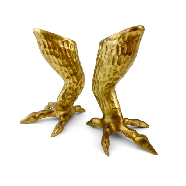 1970s Figurative Brass Eagle Bird Talon / Claw Candlesticks - a Pair For Sale In Philadelphia - Image 6 of 8