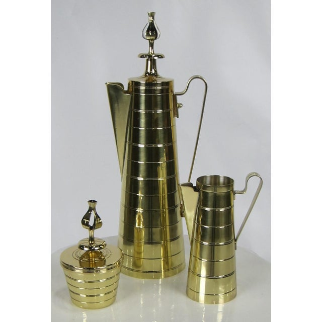 Dorlyn Silversmiths 3 Piece Brass Coffee Service by Tommi Parzinger for Dorlyn For Sale - Image 4 of 6