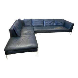 "B&b Italia ""Charles"" Navy Blue Leather & Chrome Base Sofa by Antonio Citterio For Sale"