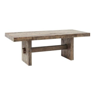 Modern West Elm Rustic Wood Table For Sale