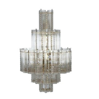 1960's Mid Century Modern Gaetano Sciolari for Lightilier Glass Rod 5-Tier Chandelier