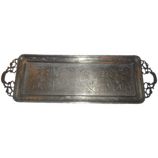 1920's Antique Brass Oblong Tray