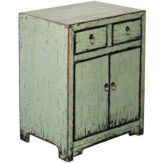 Rustic Distressed Side Chest in Sage For Sale - Image 3 of 7