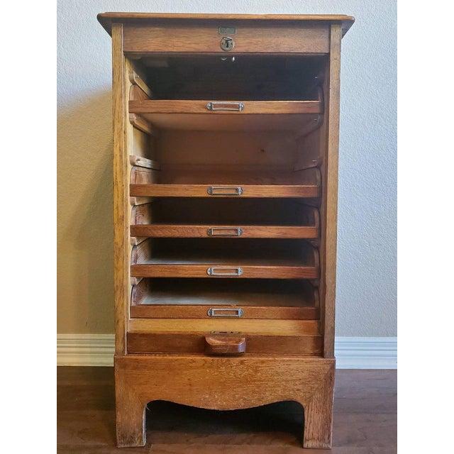 Mid-Century Modern Mid-Century Danish Modern Tiger Oak Tambour Cabinet For Sale - Image 3 of 11