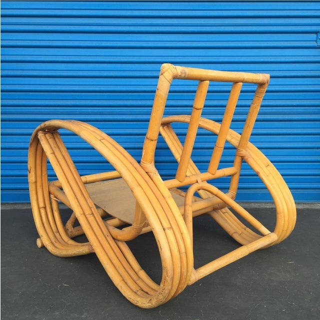 Heywood Wakefield Curved Arm Rattan Lounge Chair - Image 4 of 5