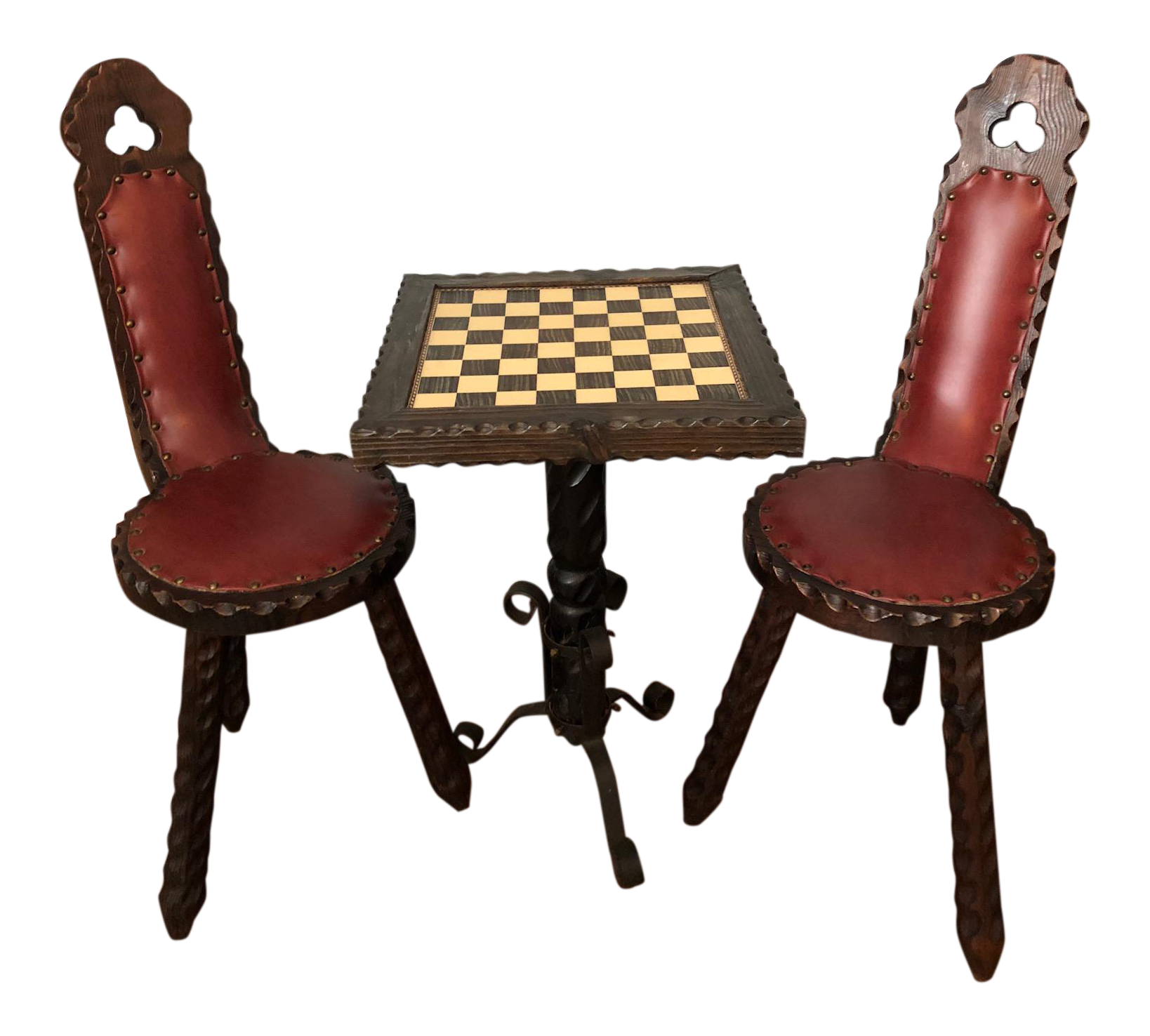 Vintage Spanish Carved Chess Table \u0026 Chairs - Set of 3  sc 1 st  Chairish & Vintage Spanish Carved Chess Table \u0026 Chairs - Set of 3 | Chairish