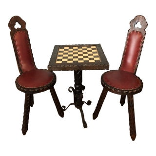 Vintage Spanish Carved Chess Table & Chairs - Set of 3