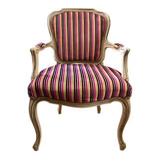 Velvet Striped French Provincial Armchair For Sale