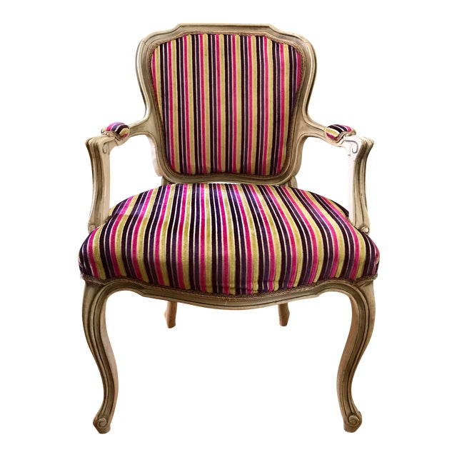 Velvet Striped French Provincial Armchair Chairish