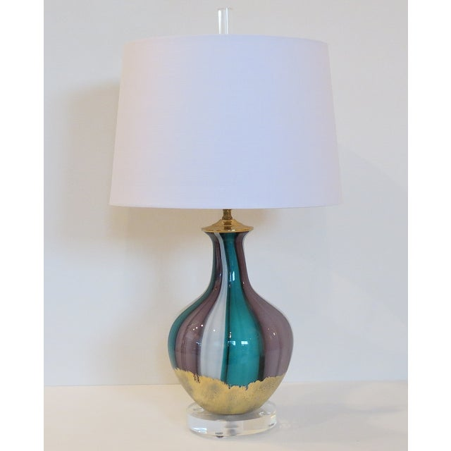 Venetian Swirl Turquoise Lilac Gold Glass Lamp - Image 2 of 7