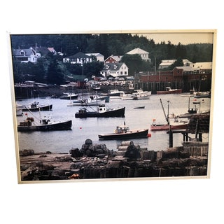 Large Mantique, Framed Photo of Retro Lobster Boats For Sale